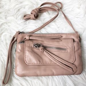 Handbags - Blush Pink Faux Leather Tassel Wristlet Crossbody